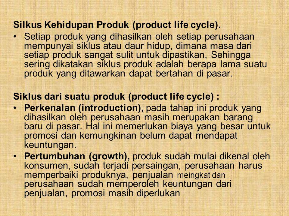 Silkus Kehidupan Produk (product life cycle). Setiap produk yang dihasilkan oleh setiap perusahaan mempunyai siklus atau daur hidup, dimana masa dari
