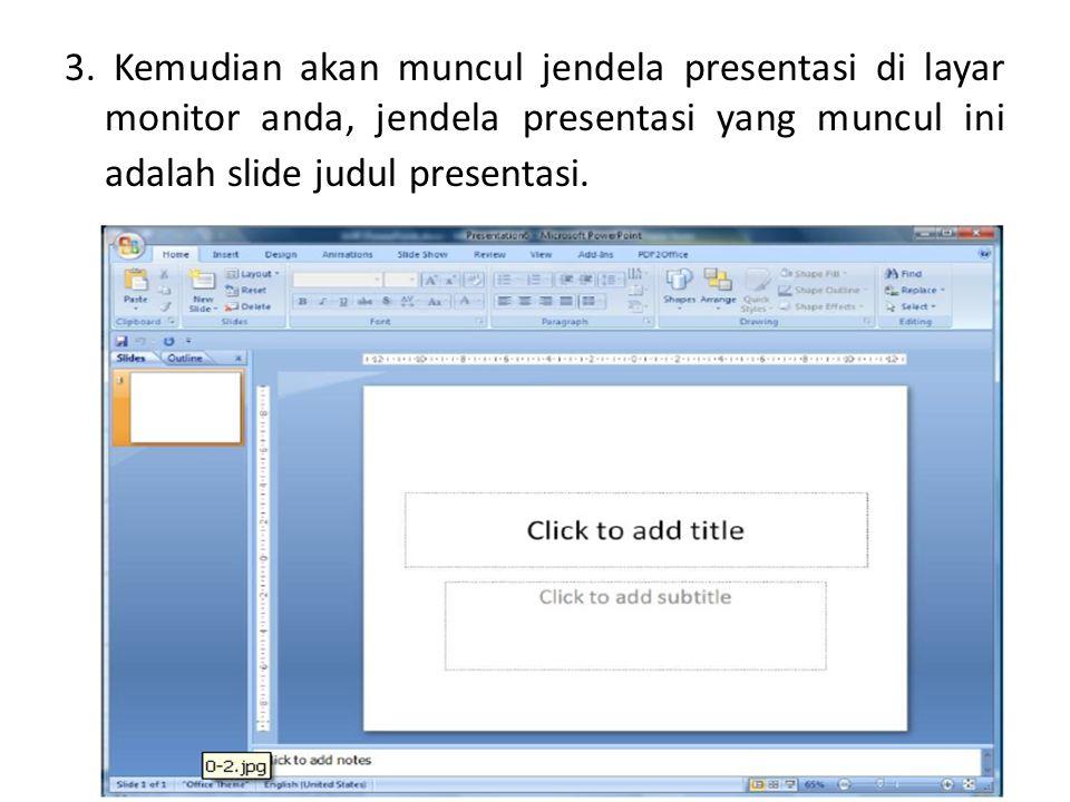 3. Kemudian akan muncul jendela presentasi di layar monitor anda, jendela presentasi yang muncul ini adalah slide judul presentasi.