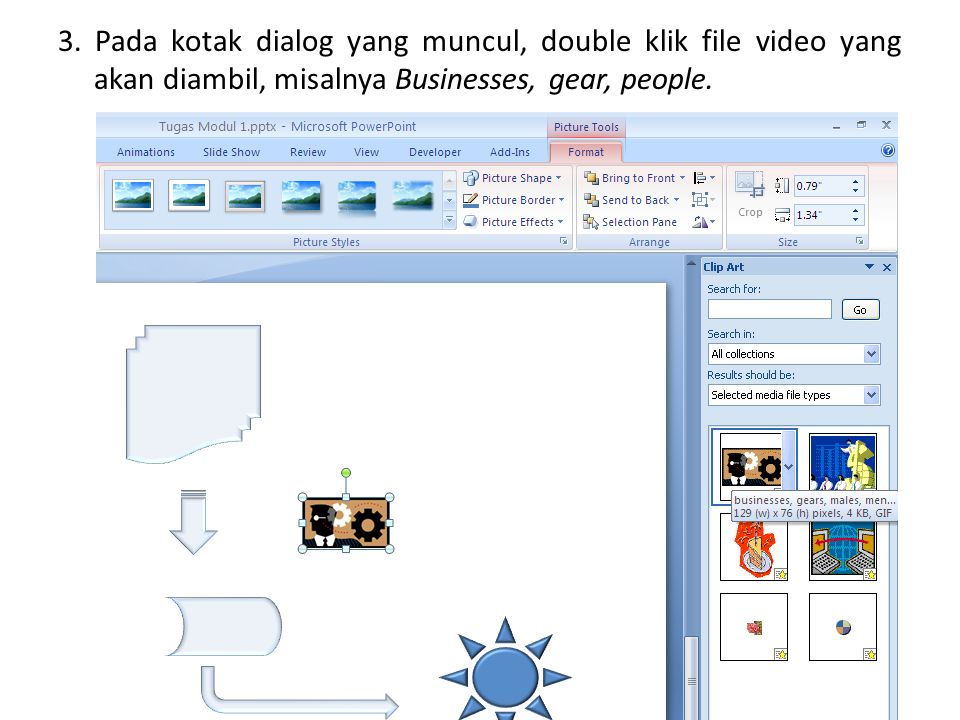 3. Pada kotak dialog yang muncul, double klik file video yang akan diambil, misalnya Businesses, gear, people.