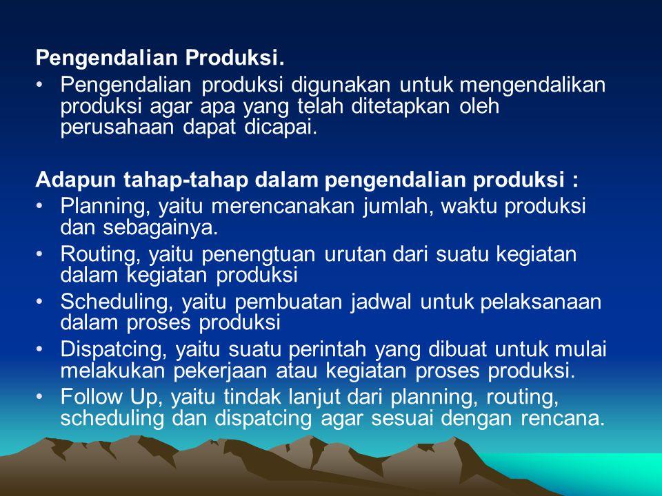 Pengendalian Produksi. Pengendalian produksi digunakan untuk mengendalikan produksi agar apa yang telah ditetapkan oleh perusahaan dapat dicapai. Adap