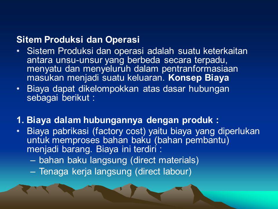Sitem Produksi dan Operasi Sistem Produksi dan operasi adalah suatu keterkaitan antara unsu-unsur yang berbeda secara terpadu, menyatu dan menyeluruh