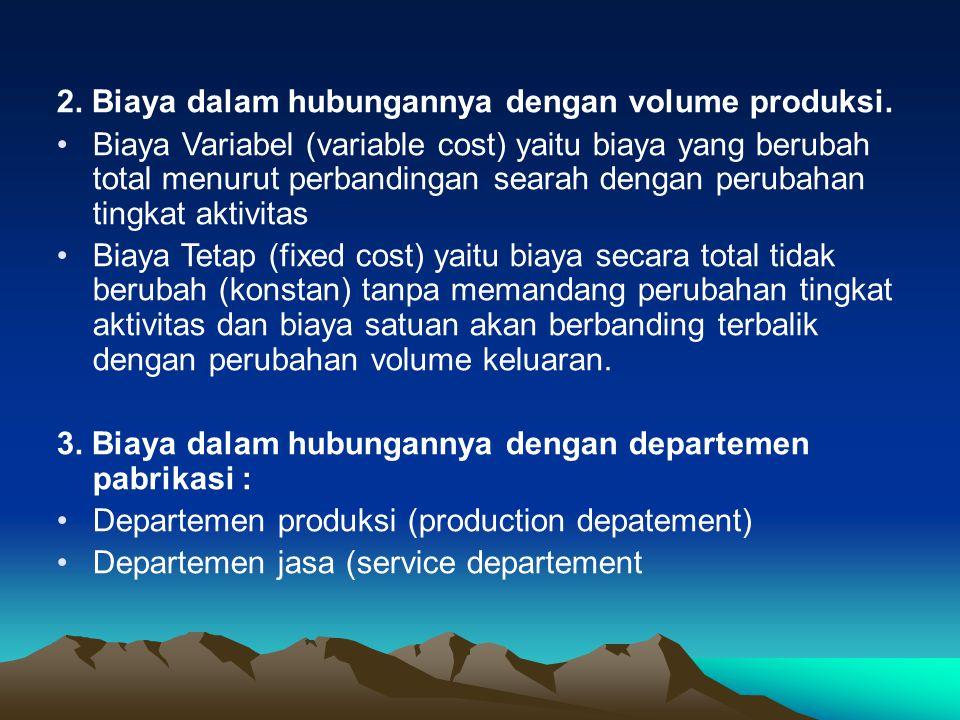 2. Biaya dalam hubungannya dengan volume produksi. Biaya Variabel (variable cost) yaitu biaya yang berubah total menurut perbandingan searah dengan pe