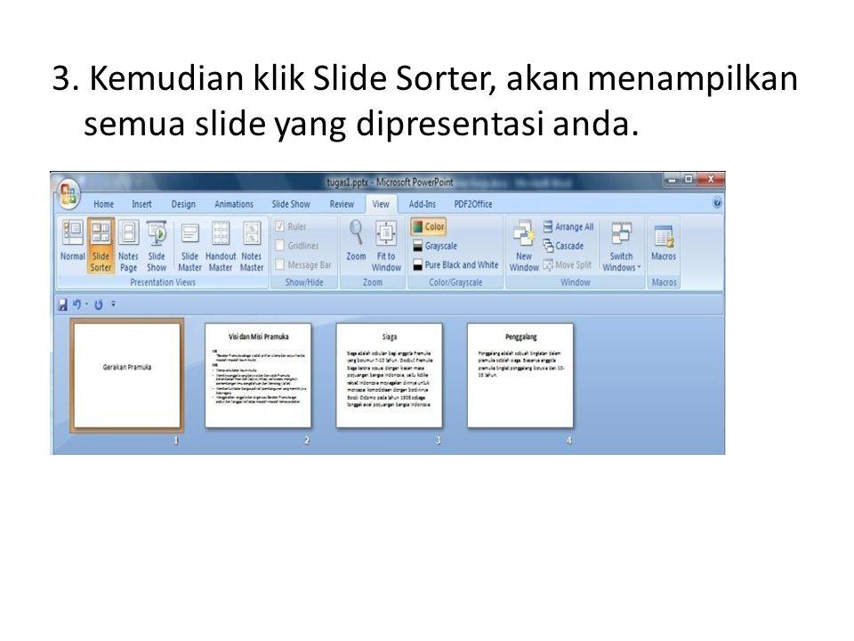 3. Kemudian klik Slide Sorter, akan menampilkan semua slide yang dipresentasi anda.