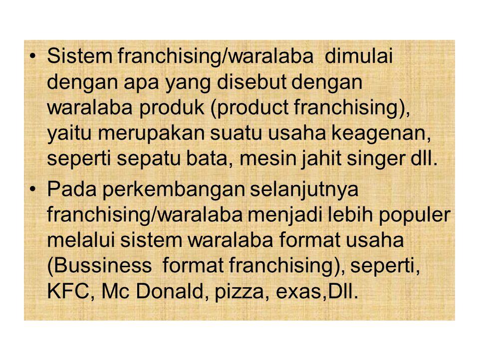 3.Pembelian Hak Lisensi (Franchising / Waralaba). Franchising merupakan suatu persatuan lisensi menurut hukum antara suatu pabrik (manufakturing) atau