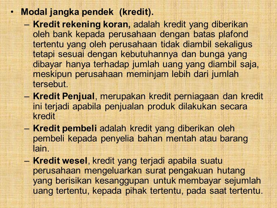 Modal jangka pendek (kredit). –Kredit rekening koran, adalah kredit yang diberikan oleh bank kepada perusahaan dengan batas plafond tertentu yang oleh