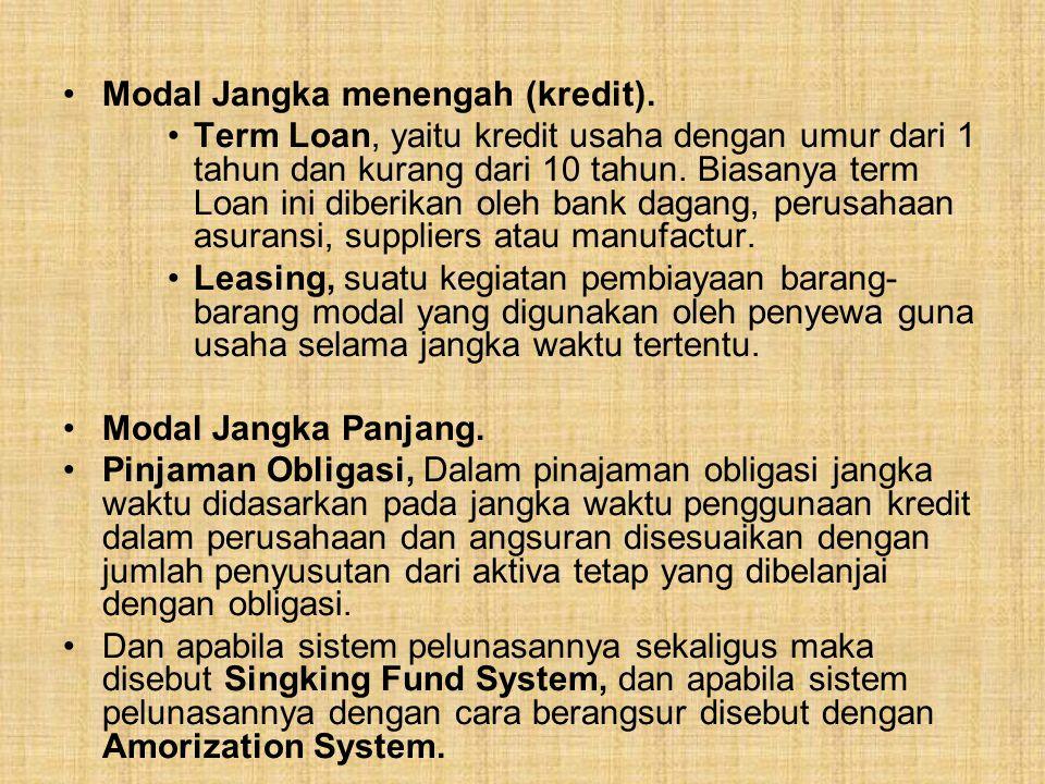 Modal Jangka menengah (kredit). Term Loan, yaitu kredit usaha dengan umur dari 1 tahun dan kurang dari 10 tahun. Biasanya term Loan ini diberikan oleh