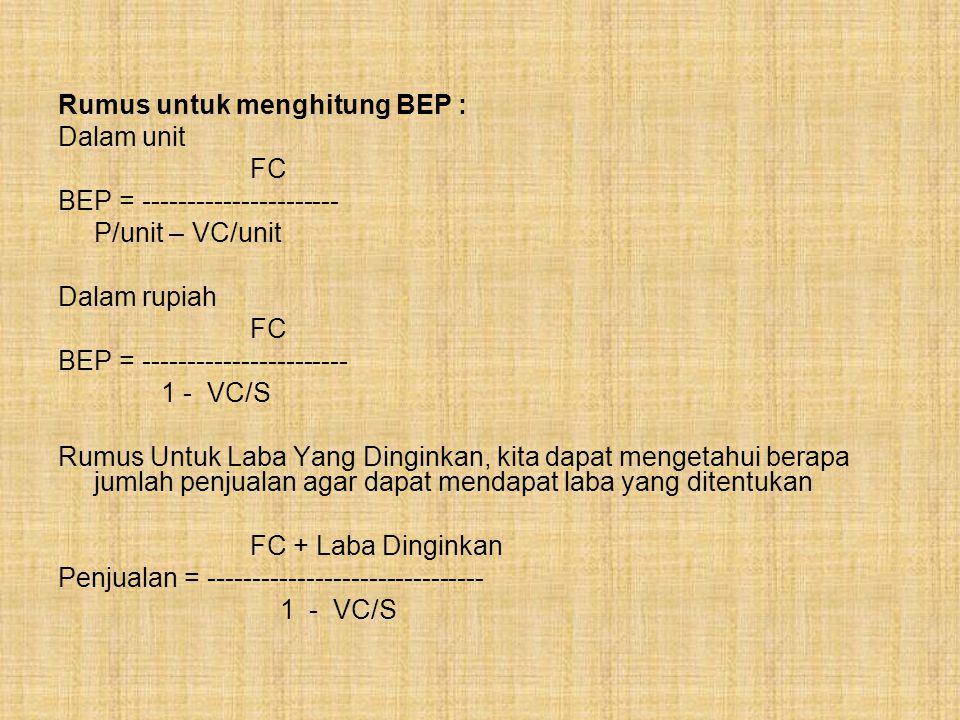 Rumus untuk menghitung BEP : Dalam unit FC BEP = ---------------------- P/unit – VC/unit Dalam rupiah FC BEP = ----------------------- 1 - VC/S Rumus