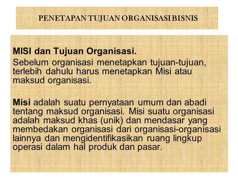 PENETAPAN TUJUAN ORGANISASI BISNIS MISI dan Tujuan Organisasi. Sebelum organisasi menetapkan tujuan-tujuan, terlebih dahulu harus menetapkan Misi atau
