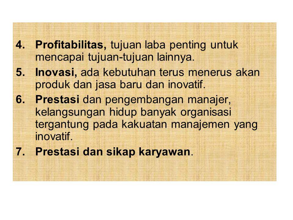 4.Profitabilitas, tujuan laba penting untuk mencapai tujuan-tujuan lainnya. 5.Inovasi, ada kebutuhan terus menerus akan produk dan jasa baru dan inova