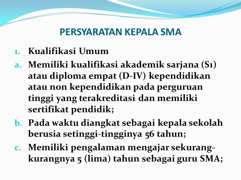 PERSYARATAN KEPALA SMA 1. Kualifikasi Umum a. Memiliki kualifikasi akademik sarjana (S1) atau diploma empat (D-IV) kependidikan atau non kependidikan
