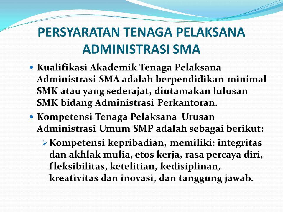 PERSYARATAN TENAGA PELAKSANA ADMINISTRASI SMA Kualifikasi Akademik Tenaga Pelaksana Administrasi SMA adalah berpendidikan minimal SMK atau yang sedera
