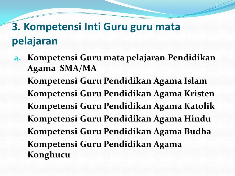 3. Kompetensi Inti Guru guru mata pelajaran a. Kompetensi Guru mata pelajaran Pendidikan Agama SMA/MA Kompetensi Guru Pendidikan Agama Islam Kompetens