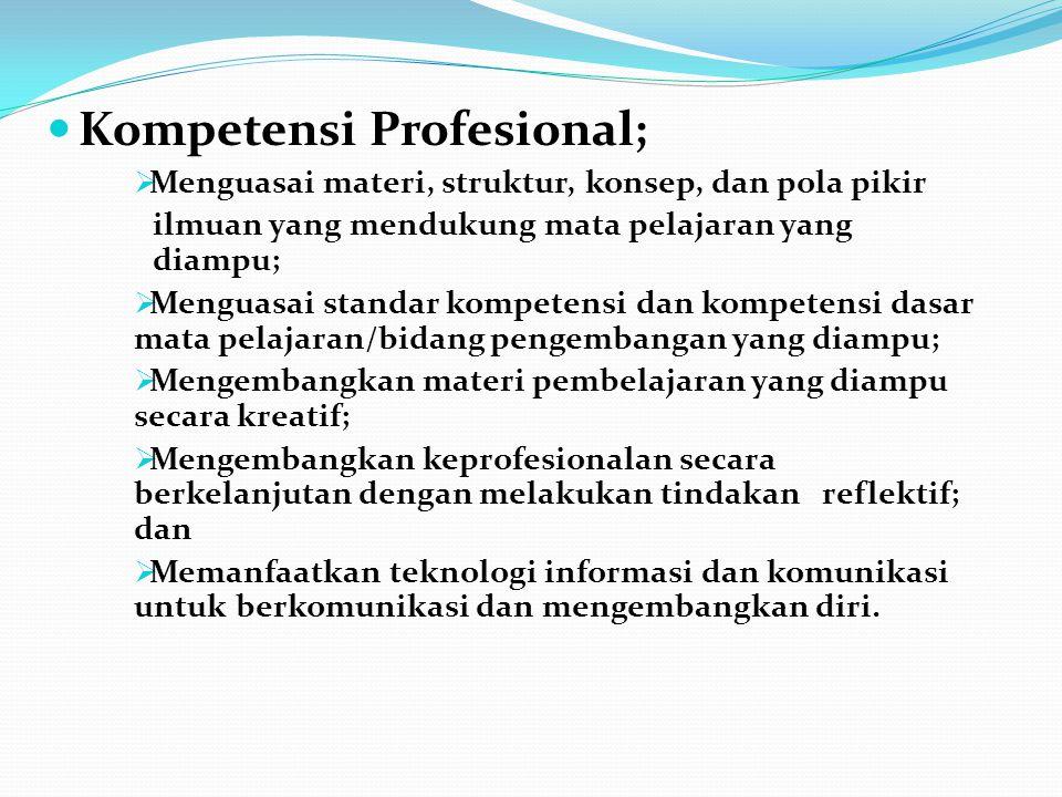 Kompetensi Profesional;  Menguasai materi, struktur, konsep, dan pola pikir ilmuan yang mendukung mata pelajaran yang diampu;  Menguasai standar kom