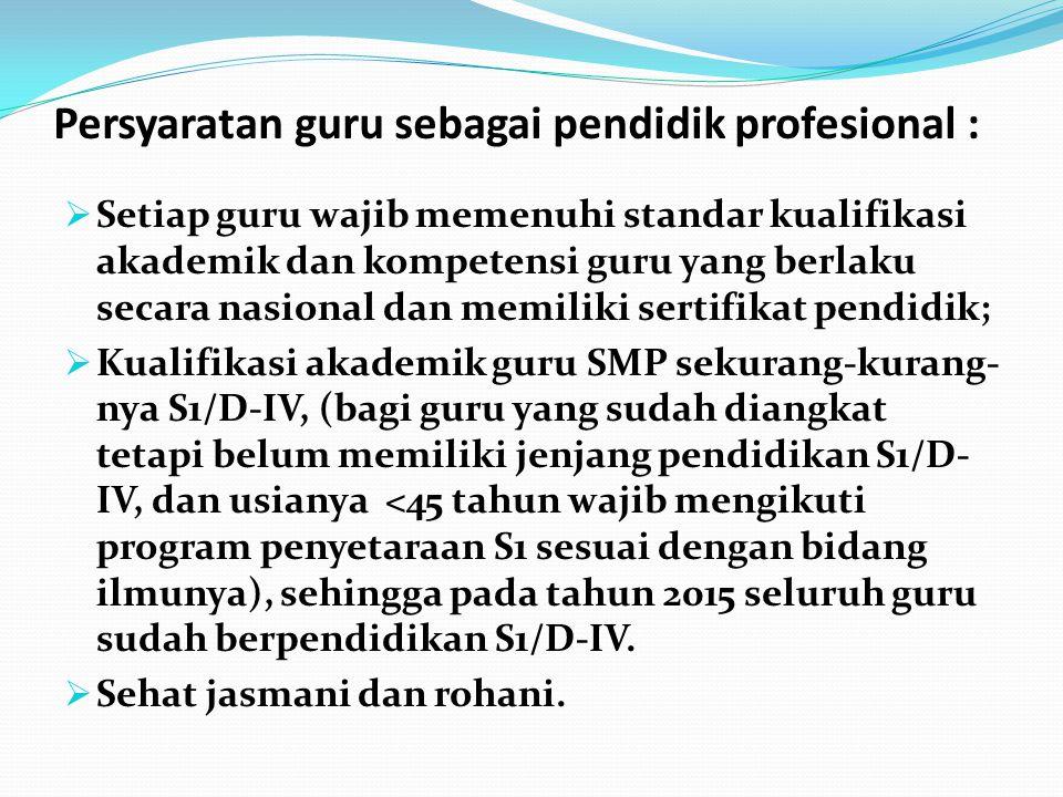 Persyaratan guru sebagai pendidik profesional :  Setiap guru wajib memenuhi standar kualifikasi akademik dan kompetensi guru yang berlaku secara nasi