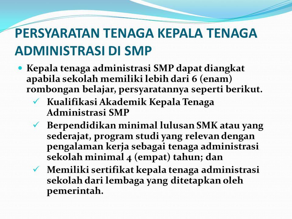 PERSYARATAN TENAGA KEPALA TENAGA ADMINISTRASI DI SMP Kepala tenaga administrasi SMP dapat diangkat apabila sekolah memiliki lebih dari 6 (enam) rombon