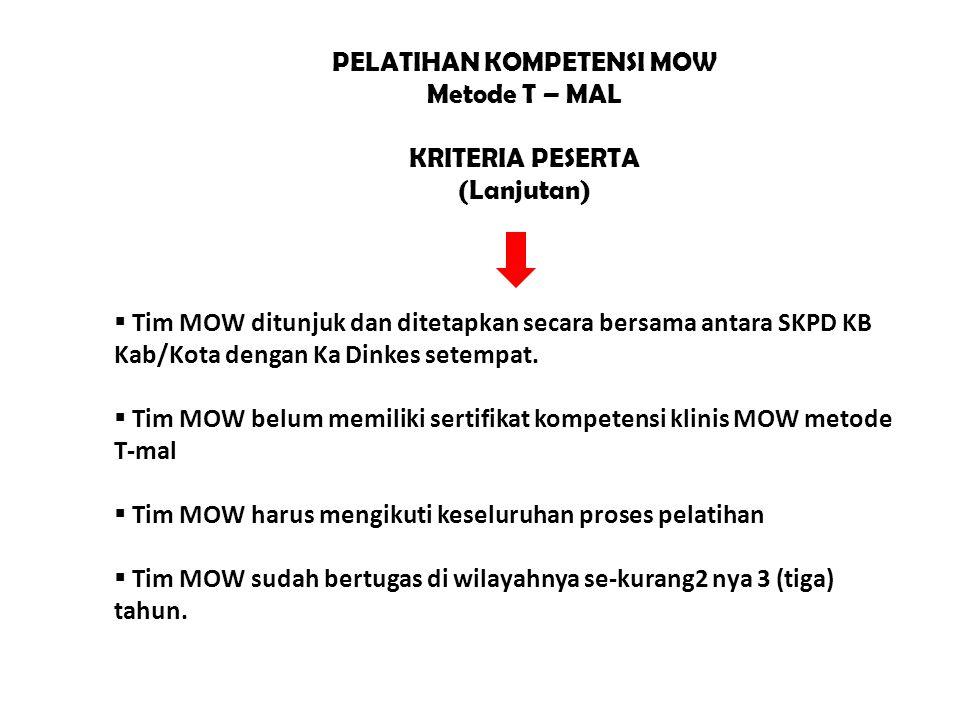 PELATIHAN KOMPETENSI MOW Metode T – MAL KRITERIA PESERTA (Lanjutan)  Tim MOW ditunjuk dan ditetapkan secara bersama antara SKPD KB Kab/Kota dengan Ka Dinkes setempat.