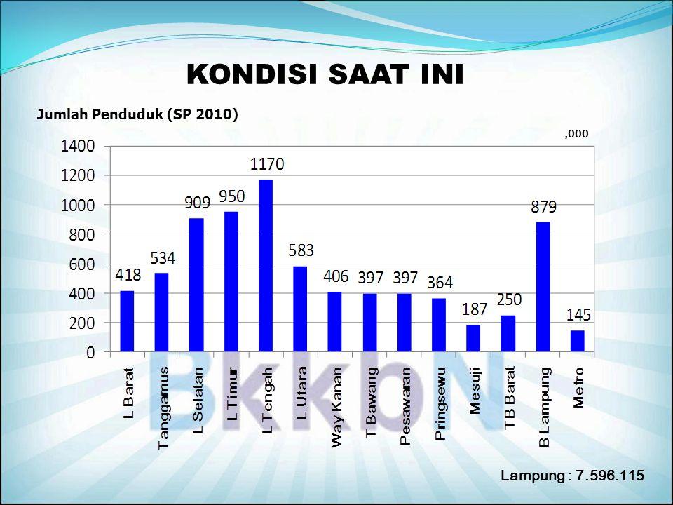 KONDISI SAAT INI Jumlah Penduduk (SP 2010) Lampung : 7.596.115,000