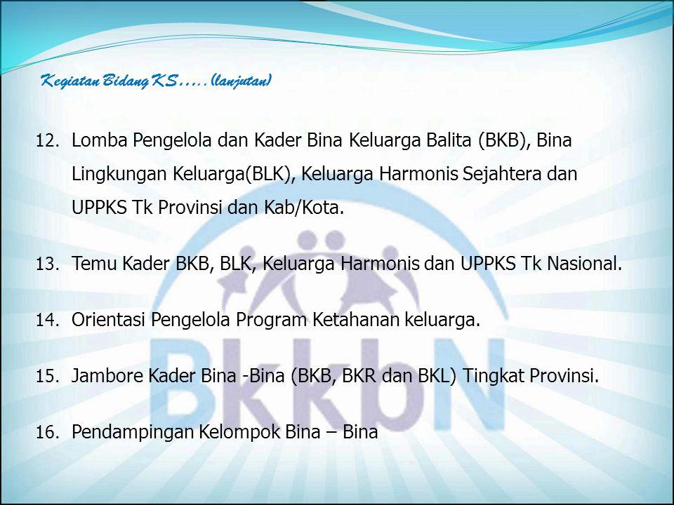 6. Pelaksanaan Program PKLK melalui kelompok Percontohan Bina Lingkungan Keluarga (BLK). 7. Peningkatan kemampuan Tenaga Pengelola dan Pelaksana Kelom