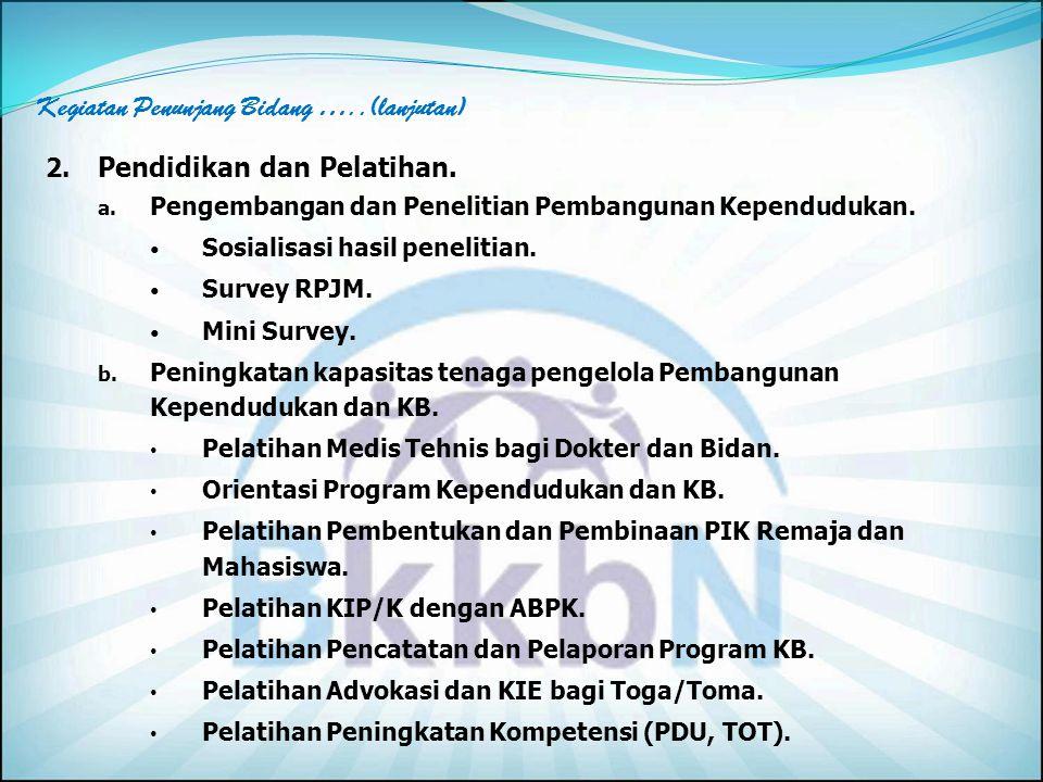 E. Kegiatan Bidang Penunjang 1. Pengembangan Sistem Informasi Data Keluarga. Memberikan dukungan dan pembinaan ke pengelola KB Kabupaten/Kota untuk me