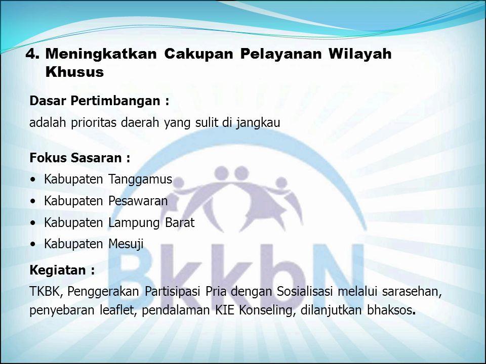 3. Meningkatkan Dukungan Operasional Melalui Camping Program Dasar Pertimbangan : PB tinggi dan PA/PUS rendah Fokus Sasaran : Kabupaten Lampung Barat