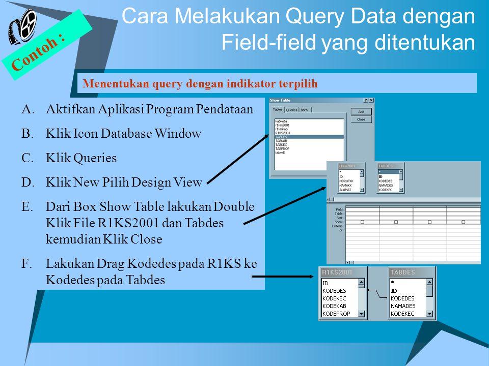 Cara Melakukan Query Data dengan Field-field yang ditentukan Menentukan query dengan indikator terpilih Contoh : A.Aktifkan Aplikasi Program Pendataan B.Klik Icon Database Window C.Klik Queries D.Klik New Pilih Design View E.Dari Box Show Table lakukan Double Klik File R1KS2001 dan Tabdes kemudian Klik Close F.Lakukan Drag Kodedes pada R1KS ke Kodedes pada Tabdes