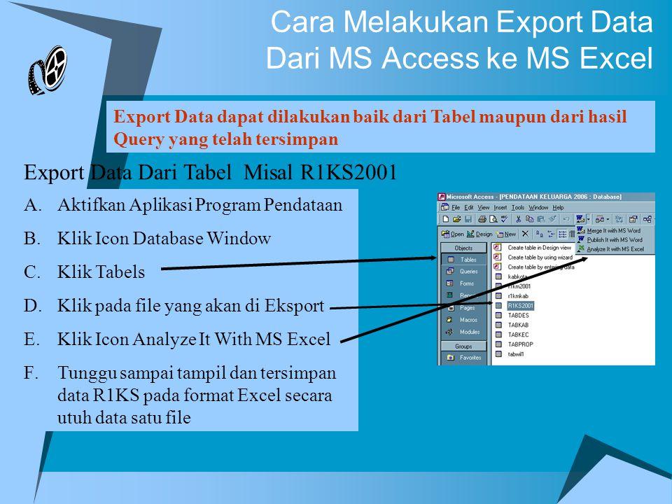 Cara Melakukan Export Data Dari MS Access ke MS Excel Export Data dapat dilakukan baik dari Tabel maupun dari hasil Query yang telah tersimpan Export Data Dari Tabel Misal R1KS2001 A.Aktifkan Aplikasi Program Pendataan B.Klik Icon Database Window C.Klik Tabels D.Klik pada file yang akan di Eksport E.Klik Icon Analyze It With MS Excel F.Tunggu sampai tampil dan tersimpan data R1KS pada format Excel secara utuh data satu file