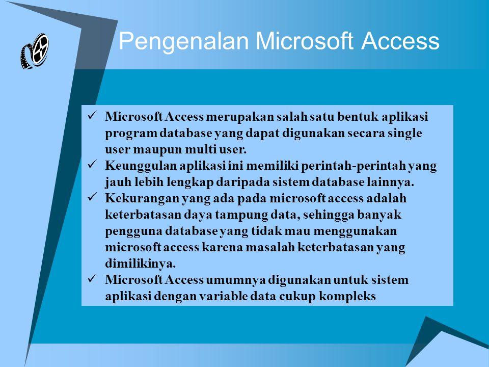 Pengenalan Microsoft Access Microsoft Access merupakan salah satu bentuk aplikasi program database yang dapat digunakan secara single user maupun multi user.