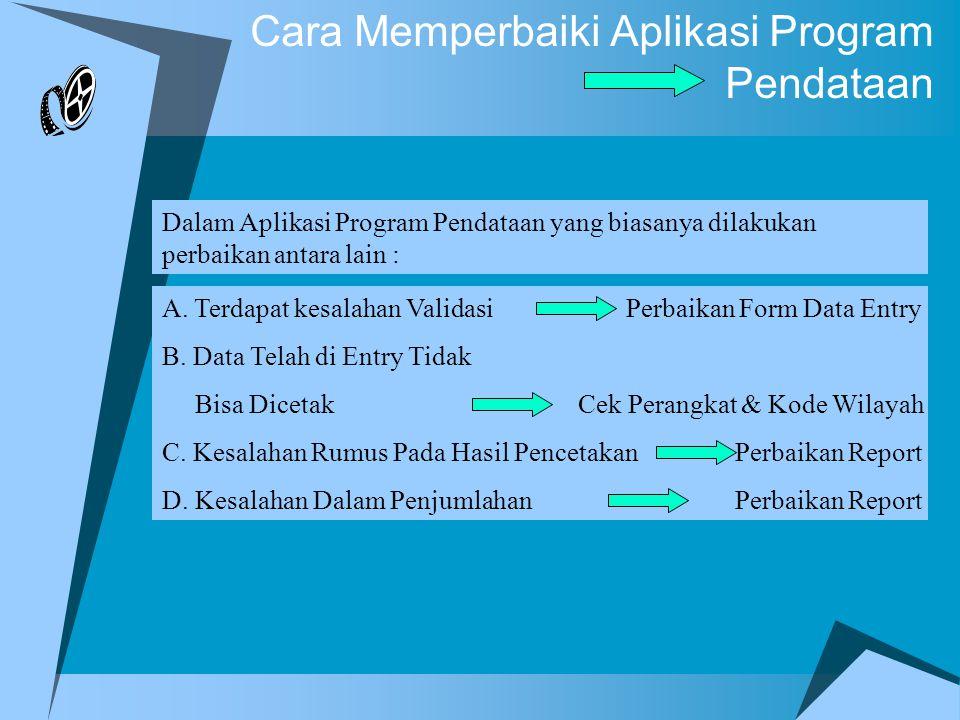 Cara Memperbaiki Aplikasi Program Pendataan A.Aktifkan Aplikasi Program Pendataan B.Klik Icon Database Window C.Klik Forms D.Klik Kanan Pada Data Entry dan Pilih Icon Design View E.Silakan perbaiki validasi mana yang dianggap salah A.
