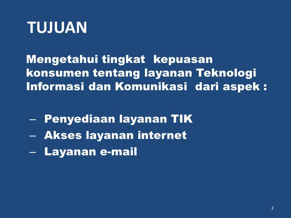 Mengetahui tingkat kepuasan konsumen tentang layanan Teknologi Informasi dan Komunikasi dari aspek : – Penyediaan layanan TIK – Akses layanan internet