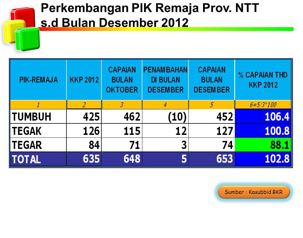 Perkembangan PIK Remaja Prov. NTT s.d Bulan Desember 2012 Sumber : Kasubbid BKR