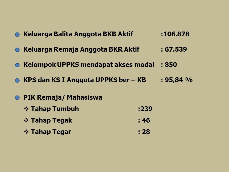 Keluarga Balita Anggota BKB Aktif:106.878 Keluarga Remaja Anggota BKR Aktif : 67.539 Kelompok UPPKS mendapat akses modal: 850 KPS dan KS I Anggota UPP