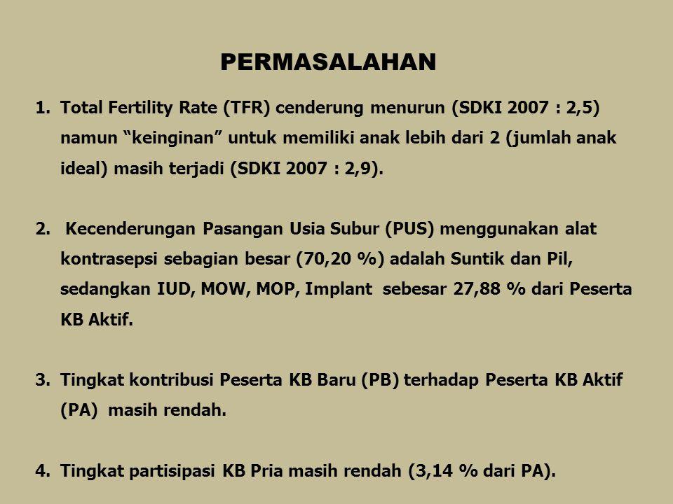 PERMASALAHAN 1.Total Fertility Rate (TFR) cenderung menurun (SDKI 2007 : 2,5) namun keinginan untuk memiliki anak lebih dari 2 (jumlah anak ideal) masih terjadi (SDKI 2007 : 2,9).