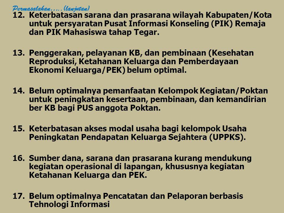 12.Keterbatasan sarana dan prasarana wilayah Kabupaten/Kota untuk persyaratan Pusat Informasi Konseling (PIK) Remaja dan PIK Mahasiswa tahap Tegar.