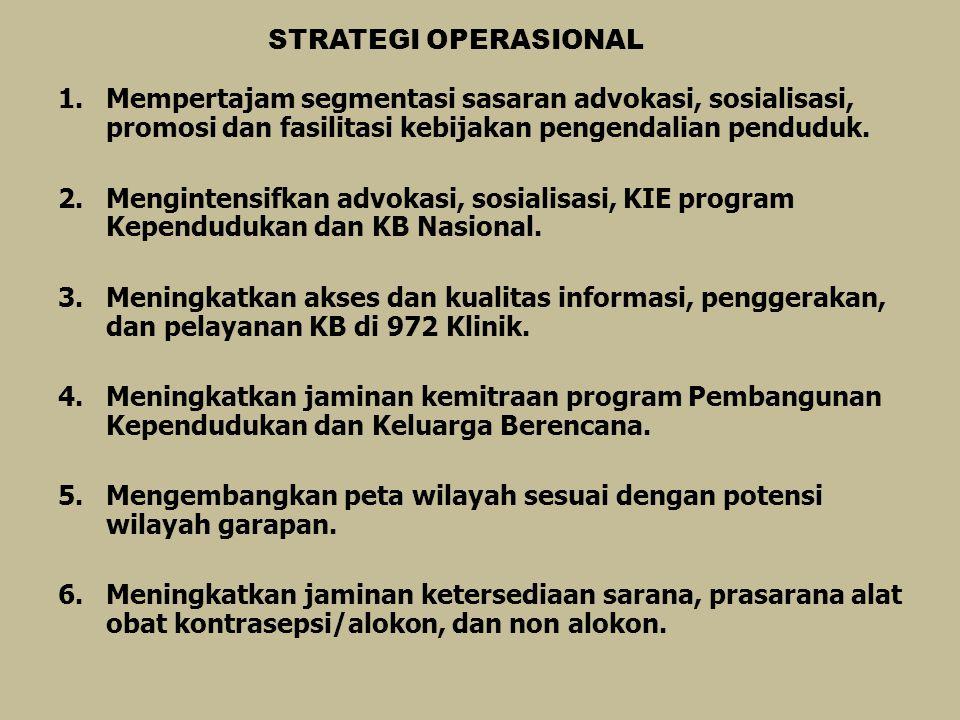 STRATEGI OPERASIONAL 1.Mempertajam segmentasi sasaran advokasi, sosialisasi, promosi dan fasilitasi kebijakan pengendalian penduduk. 2.Mengintensifkan