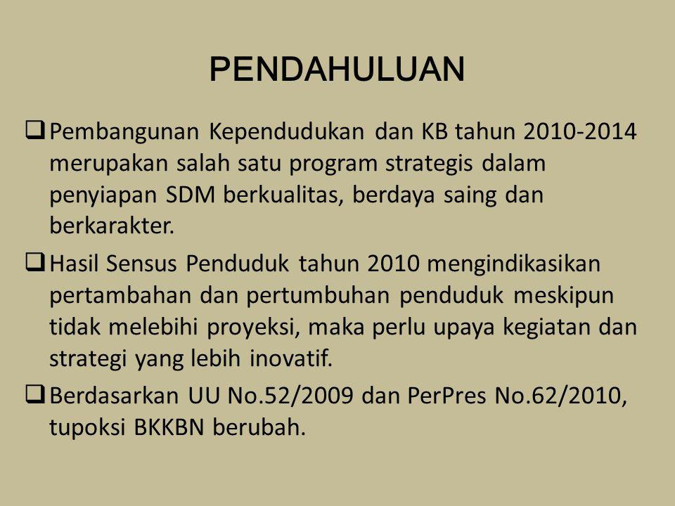 PENDAHULUAN  Pembangunan Kependudukan dan KB tahun 2010-2014 merupakan salah satu program strategis dalam penyiapan SDM berkualitas, berdaya saing dan berkarakter.