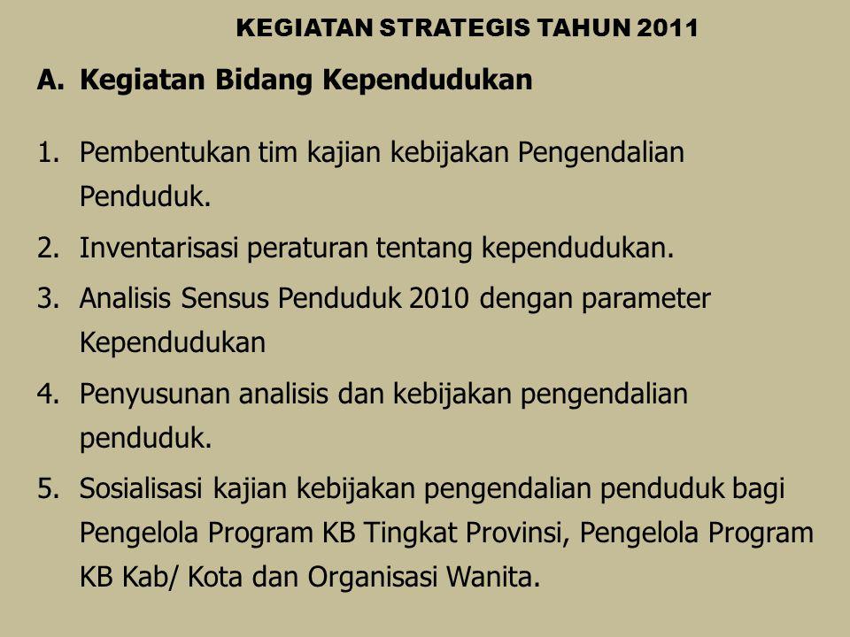 KEGIATAN STRATEGIS TAHUN 2011 A.Kegiatan Bidang Kependudukan 1.Pembentukan tim kajian kebijakan Pengendalian Penduduk. 2.Inventarisasi peraturan tenta