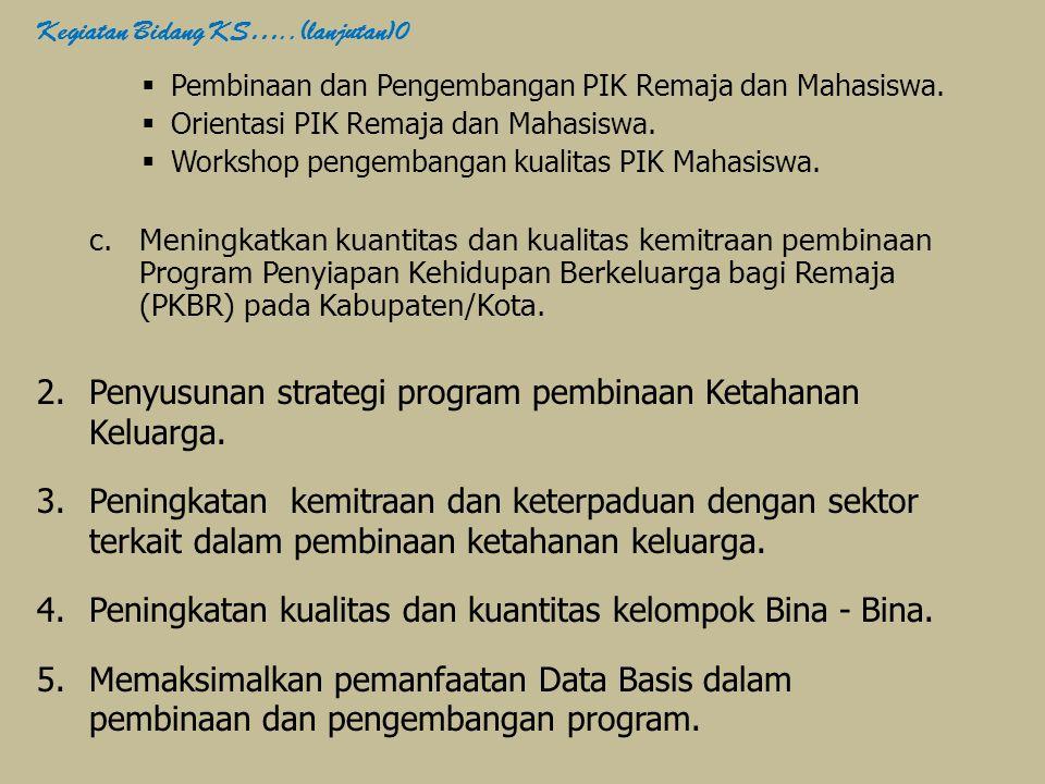  Pembinaan dan Pengembangan PIK Remaja dan Mahasiswa.  Orientasi PIK Remaja dan Mahasiswa.  Workshop pengembangan kualitas PIK Mahasiswa. c.Meningk