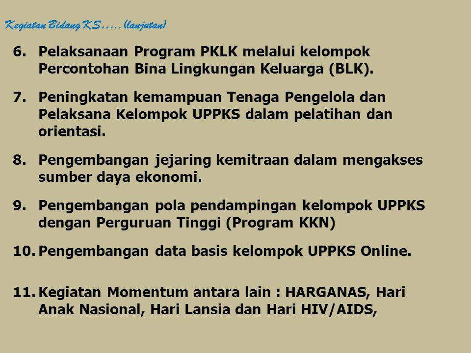 6.Pelaksanaan Program PKLK melalui kelompok Percontohan Bina Lingkungan Keluarga (BLK). 7.Peningkatan kemampuan Tenaga Pengelola dan Pelaksana Kelompo