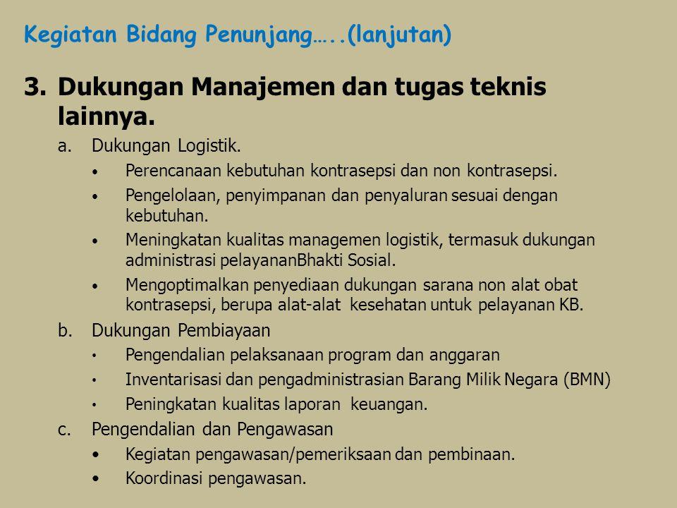 3.Dukungan Manajemen dan tugas teknis lainnya. a.Dukungan Logistik. Perencanaan kebutuhan kontrasepsi dan non kontrasepsi. Pengelolaan, penyimpanan da