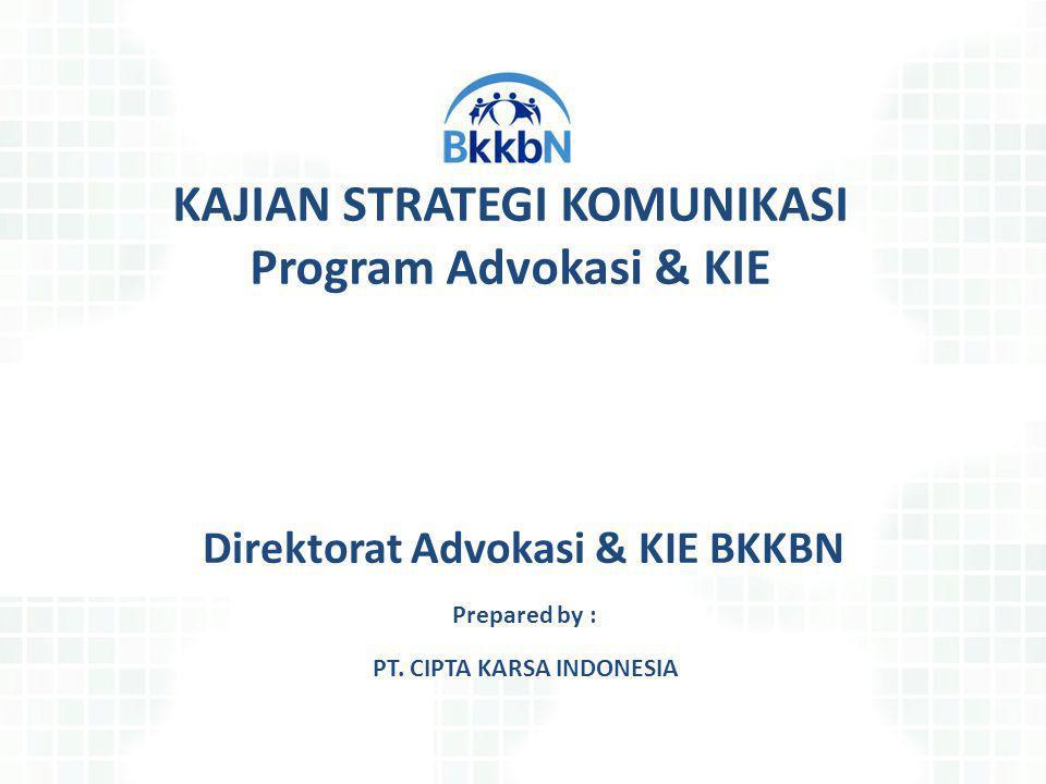 Direktorat Advokasi & KIE BKKBN Prepared by : KAJIAN STRATEGI KOMUNIKASI Program Advokasi & KIE PT. CIPTA KARSA INDONESIA