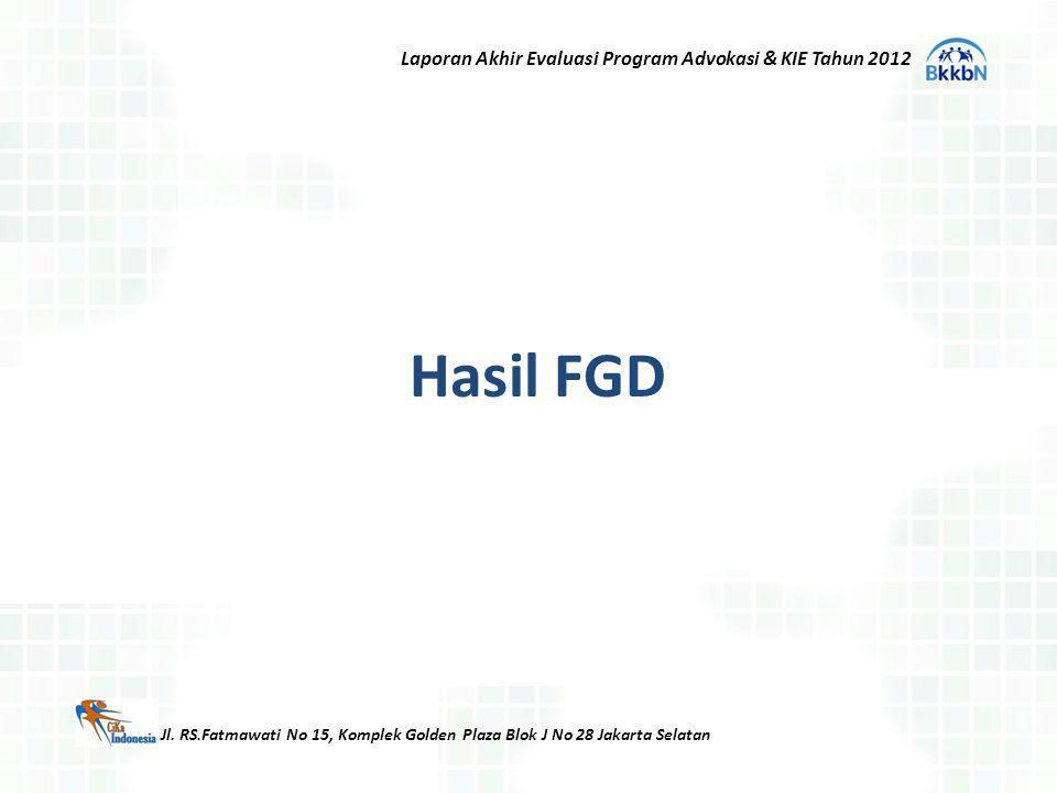 Hasil FGD Jl. RS.Fatmawati No 15, Komplek Golden Plaza Blok J No 28 Jakarta Selatan Laporan Akhir Evaluasi Program Advokasi & KIE Tahun 2012