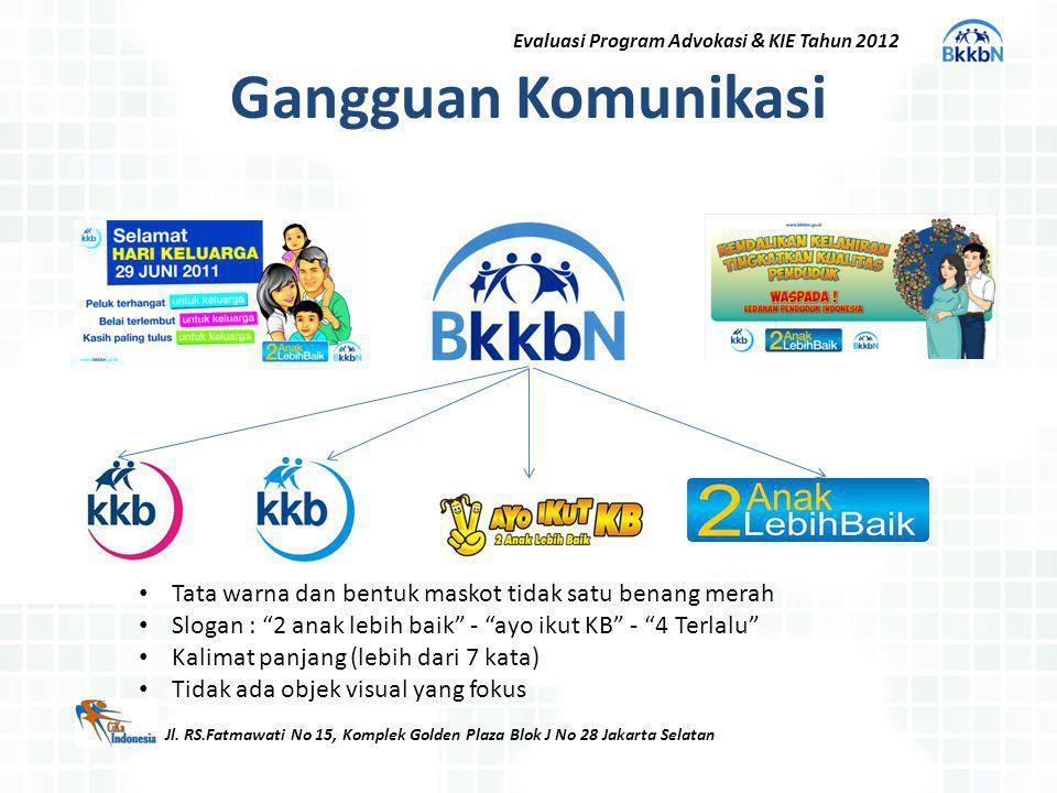 Gangguan Komunikasi Jl. RS.Fatmawati No 15, Komplek Golden Plaza Blok J No 28 Jakarta Selatan Evaluasi Program Advokasi & KIE Tahun 2012 Tata warna da