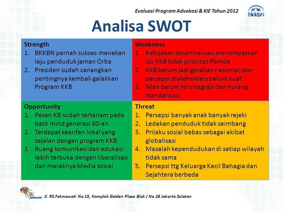 Analisa SWOT Jl. RS.Fatmawati No 15, Komplek Golden Plaza Blok J No 28 Jakarta Selatan Strength 1.BKKBN pernah sukses menekan laju penduduk jaman Orba