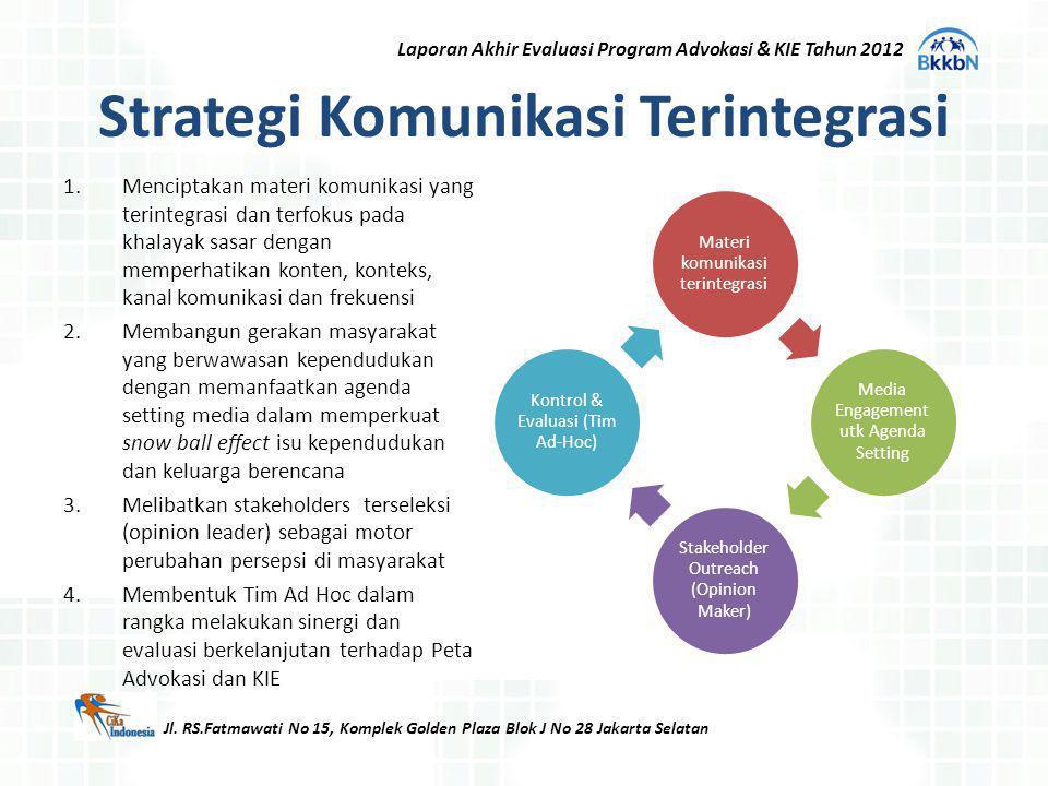 Strategi Komunikasi Terintegrasi 1.Menciptakan materi komunikasi yang terintegrasi dan terfokus pada khalayak sasar dengan memperhatikan konten, konte