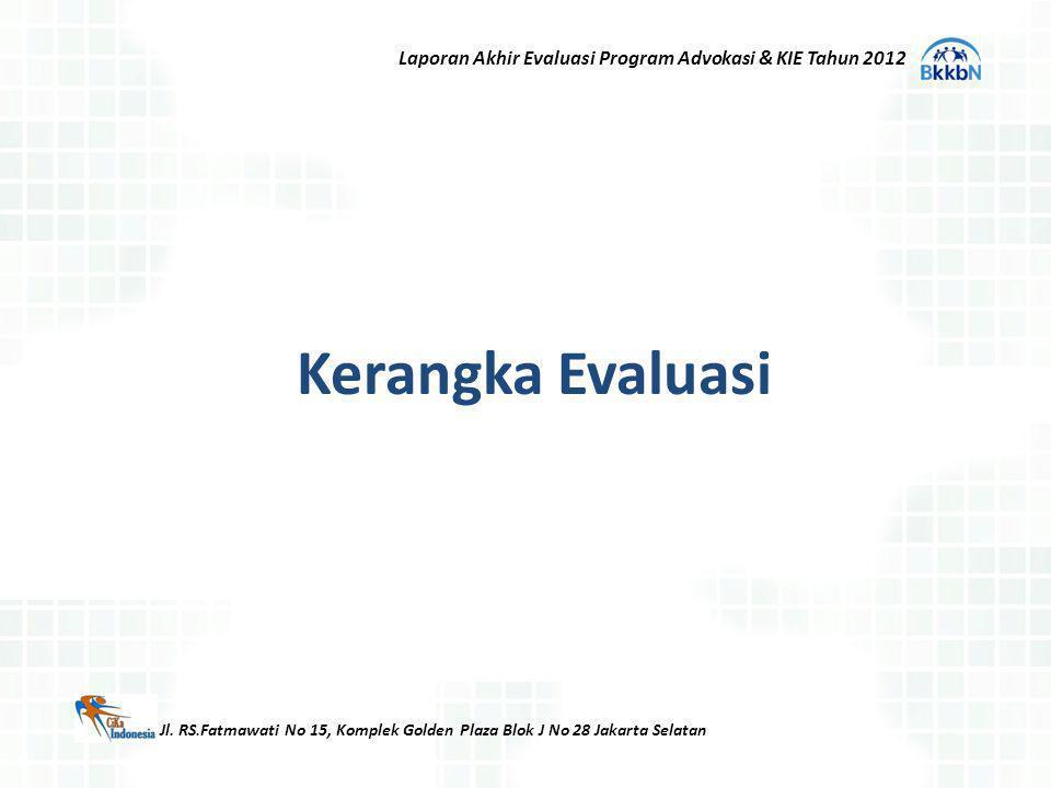 Kerangka Evaluasi Jl. RS.Fatmawati No 15, Komplek Golden Plaza Blok J No 28 Jakarta Selatan Laporan Akhir Evaluasi Program Advokasi & KIE Tahun 2012