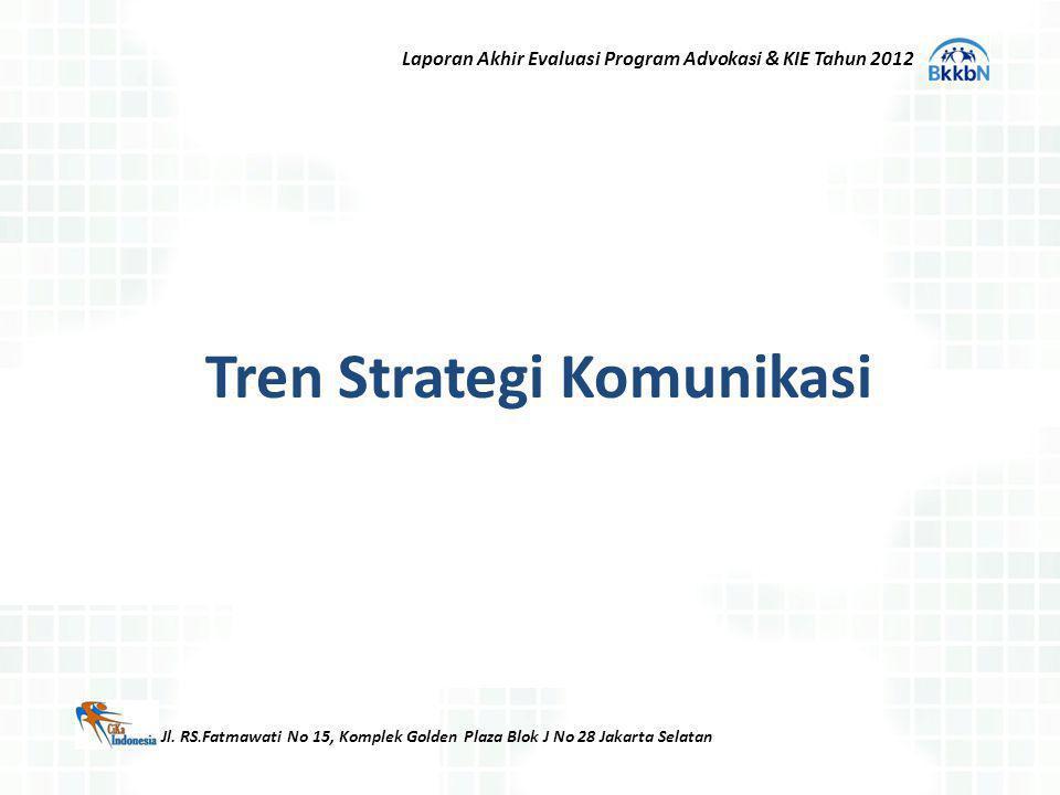 Tren Strategi Komunikasi Jl. RS.Fatmawati No 15, Komplek Golden Plaza Blok J No 28 Jakarta Selatan Laporan Akhir Evaluasi Program Advokasi & KIE Tahun