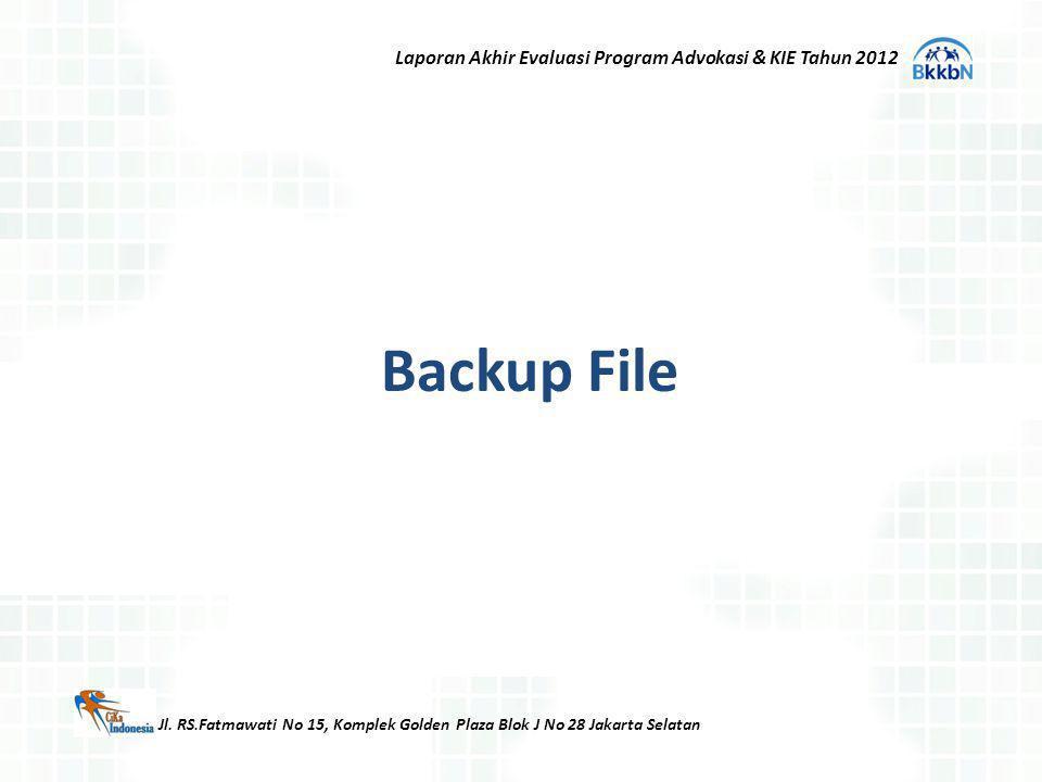 Backup File Jl. RS.Fatmawati No 15, Komplek Golden Plaza Blok J No 28 Jakarta Selatan Laporan Akhir Evaluasi Program Advokasi & KIE Tahun 2012