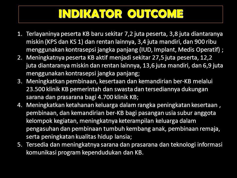 INDIKATOR OUTCOME 1.Terlayaninya peserta KB baru sekitar 7,2 juta peserta, 3,8 juta diantaranya miskin (KPS dan KS 1) dan rentan lainnya, 3,4 juta man