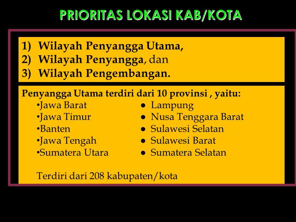 PRIORITAS LOKASI KAB/KOTA 1)Wilayah Penyangga Utama, 2)Wilayah Penyangga, dan 3)Wilayah Pengembangan. Penyangga Utama terdiri dari 10 provinsi, yaitu: