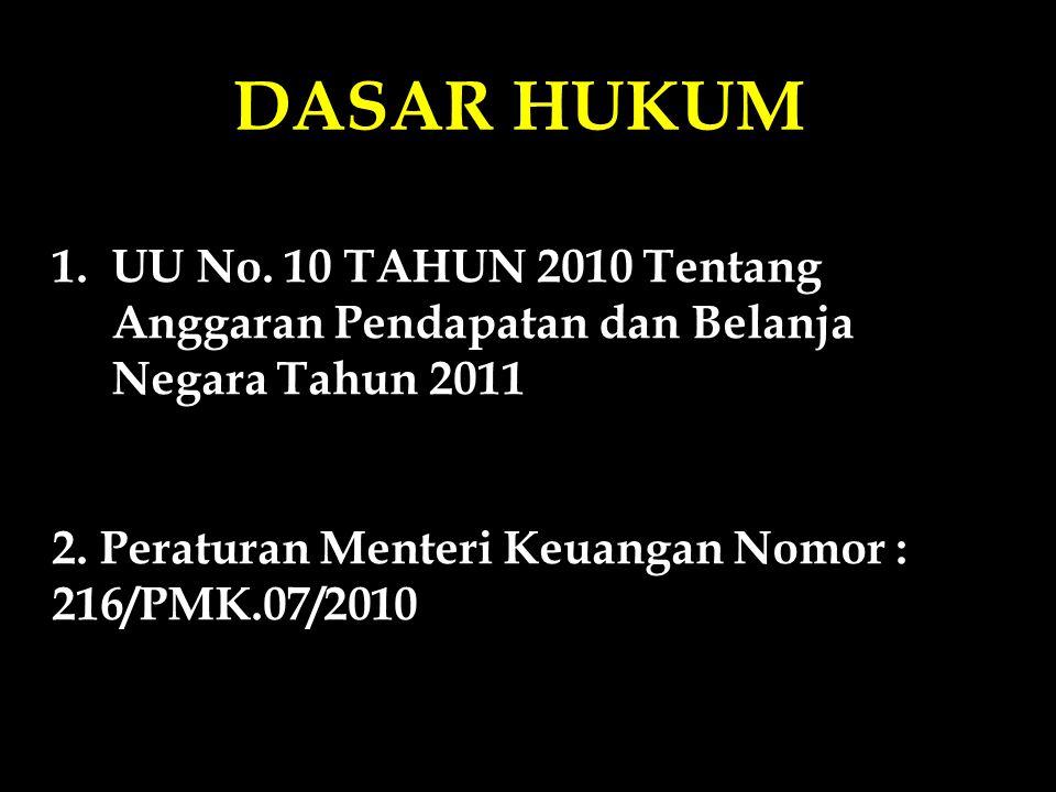 DASAR HUKUM 1.UU No. 10 TAHUN 2010 Tentang Anggaran Pendapatan dan Belanja Negara Tahun 2011 tertanggal 19 Nopember 2010 2. Peraturan Menteri Keuangan